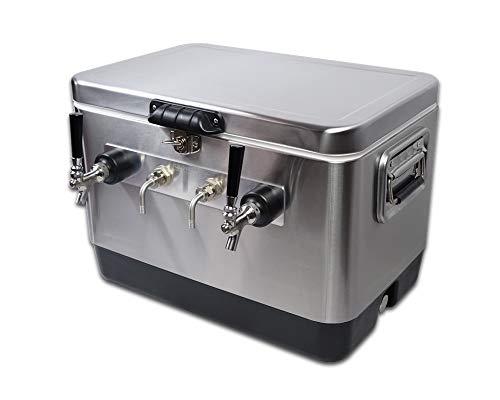 Coldbreak Brewing Equipment 2TSBE Coldbreak Jockey Box, 2 Taps, Bartender Edition, 54 Quart Cooler, 50' Coils, Steel Shanks, Includes Stainless Faucets, Silver