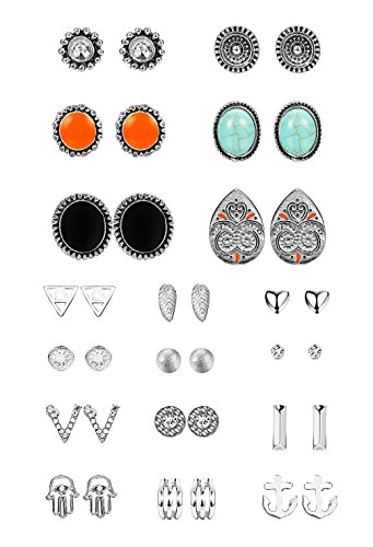 Thunaraz 18 Pairs Boho Earrings Antique Silver Plated Stud Earrings Turquoise Crystal Earring Sets for Women (Antique Set Earrings)