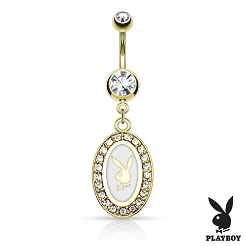 West Coast Jewelry {White} Playboy Bunny Round Pave Frame Dangle 14kt Gold Plated Navel Ring (Sold Individually) - White