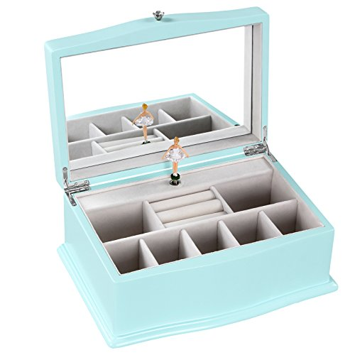 SONGMICS Girls Music Jewelry Box with Ballerina, Unique Tiffany Blue Wooden Musical Box with Large Mirror (Blue Jewelry Box)