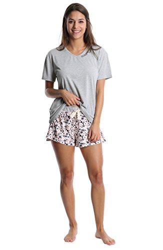 WallFlower Womens Short and T-Shirt Ladies Sleepwear Printed Pattern Shorts with Crochet Trim Loungewear Pajama Set - Pale Blush Floral W. Heather Gray, Medium