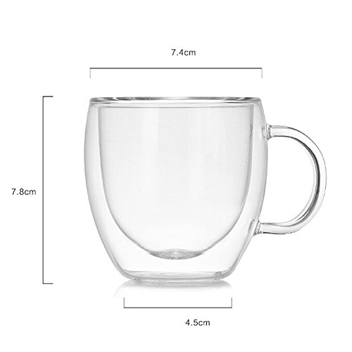 Double Walled Insulated Glass Coffee or Tea Cup with Handle for Espresso Latte Cappuccino, 5.1 oz (150ml), Coffee mugs,Set of 2 by Sinwere (Image #4)