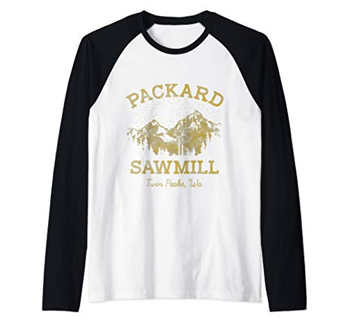 - Twin Peaks Packard Sawmill Retro Vista Logo Raglan Baseball Tee