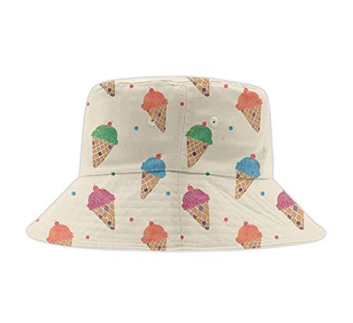 Unisex Washed Cotton Bucket Hat Summer Outdoor Cap Fun Ice Cream Pattern