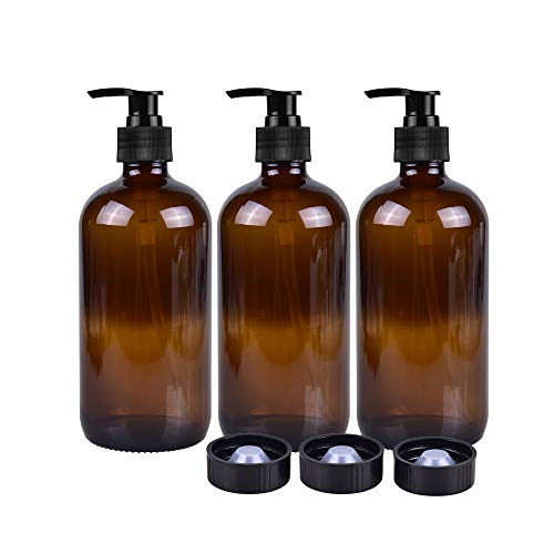 (3 Pack Empty Amber Glass Pump Bottles 16oz Pump Bottles Refillable Containers for Essential Oils, Cleaning Products, Lotions, Aromatherapy, Durable Black Pumps)