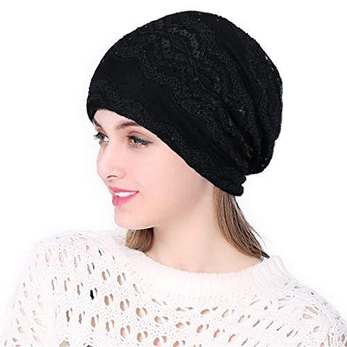 (hositor Hat Women, Women Soild India Muslim Stretch Turban Hat Knitting Hair Loss Head Scarf)