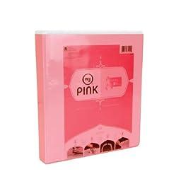 Wilson Jones Think Pink, Print Won\'t Stick Locking D-Ring Binder, 1 Inch Rings, 250 Sheet Capacity, Letter Size, Pink (W61002)