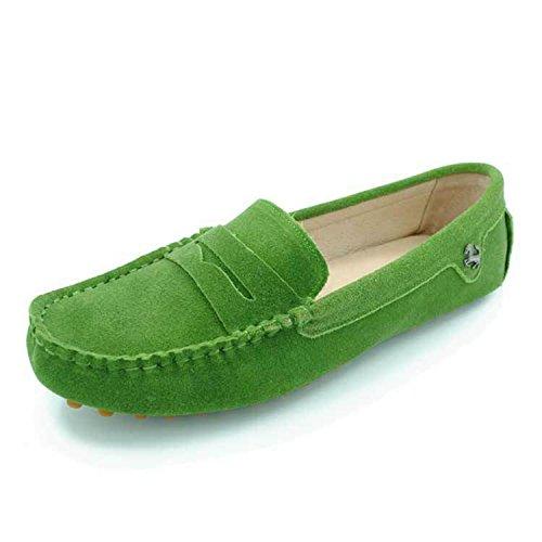 Minishion Flickor Kvinna Tillfälliga Bekväm Mocka Läder Driv Mockasiner Loafers Båt Skor Lägenheter Gräsgrön