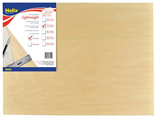 18 Mm Graphic - Helix Wooden Lightweight Drawing Board, 18 x 24 Inch, Plain Edge (37412)