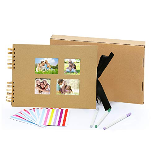 MLADEN DIY Scrapbook with 80 Pages,Craft Paper Family Photo Album DIY Accessories Kit 11.5 x 8.5 Inch,Anniversary Travel Birthday Photo Book (Yellow-1)