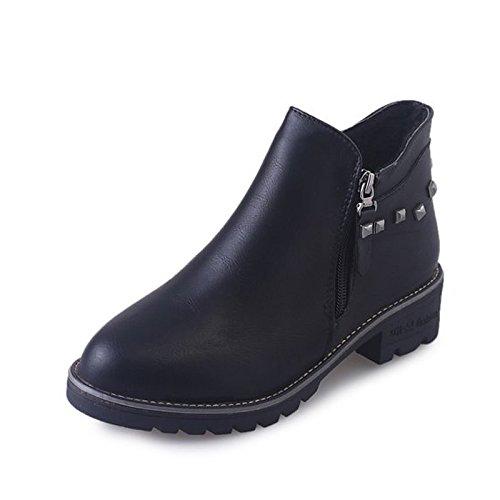 UE39 US8 Gris de UK6 Botas el ZHZNVX Zapatos Mujer Confort Exterior PU para Negro de HSXZ Otoño Gris CN39 Primavera 404UTWaO
