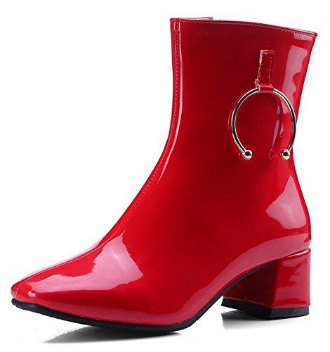 Aisun Kvinners Trendy Polert Dressy Firkantet Tå Sokker Inne Zippe Tykk Midten Hæl Ankel Boots Med Glidelås Rød