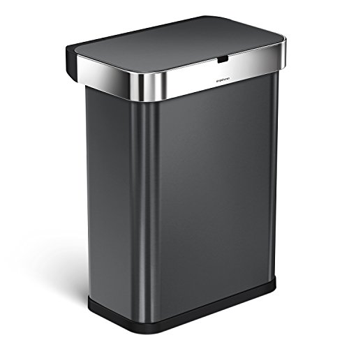 simplehuman 58 Liter / 15.3 Gallon 58L Stainless Steel Touch-Free Rectangular Kitchen Sensor Trash Can with Voice and Motion Sensor, Voice Activated, Black Stainless Steel by simplehuman