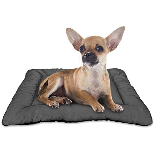 AIPERRO Dog Bed Crate Pad Washable Pet Mattress Kennel Sleeping Mat Oxford Chew Resistant Anti Slip 24/30/36/42 for Large Medium Small Dogs and Cats, Grey(24-INCH)