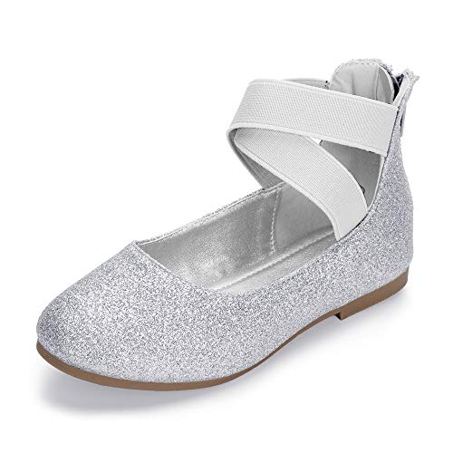 Hehainom Toddler/Little Kid Girl's Gracy Dress Ballet Flats Ankle Strap Elastic Mary Jane Ballerina Shoes (Silver Glitter, 1 M US Little Kid) -