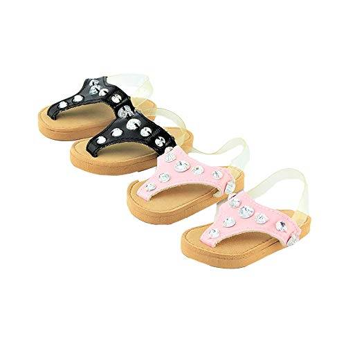2 Pair Jeweled Sandals - Pink & Black | Fits 18