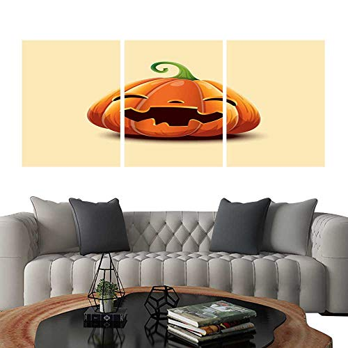 (UHOO 3 Piece Wall Art Painting Realistic Vector Halloween Pumpkin Happy face Halloween Pumpkin Isolated on Light Background 1. Living Room Kitchen)
