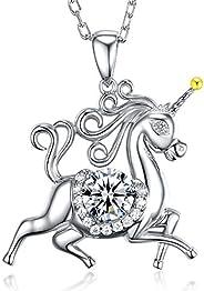 Birthday Gifts for Daughter October Birthstone Pink Tourmaline Jewelry Unicorn Pendant Animals Jewelry Citrine