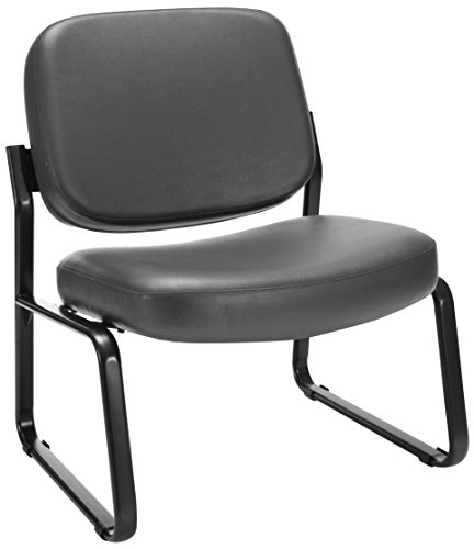 OFM Big and Tall Vinyl Armless Guest / Reception Chair, Charcoal Armless Vinyl Guest Chair