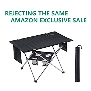 PORLAE Folding Table with Cup Holders Foldable Portable Tables with Carry Bag for Outdoor Camping Hiking and Picnic