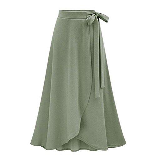 Devant Ligne plisse Ceinture Longue Ceinture Fente Vert Femmes Haute Taille Une Maxi Belldan Jupe RqnX8Cwxq