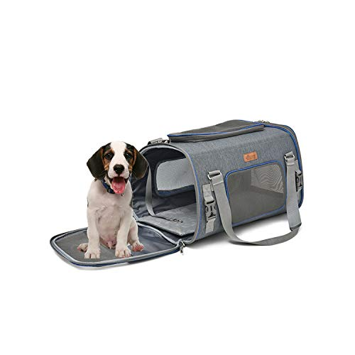 KARUIS Dog Travel Bag Soft Sided Foldable Dog Carrier Durable Nylon Safety  Pet Car Carrier,Gray,50X30X30Cm