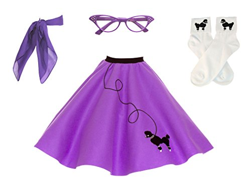 (Hip Hop 50s Shop Adult 4 Piece Poodle Skirt Costume Set Purple)