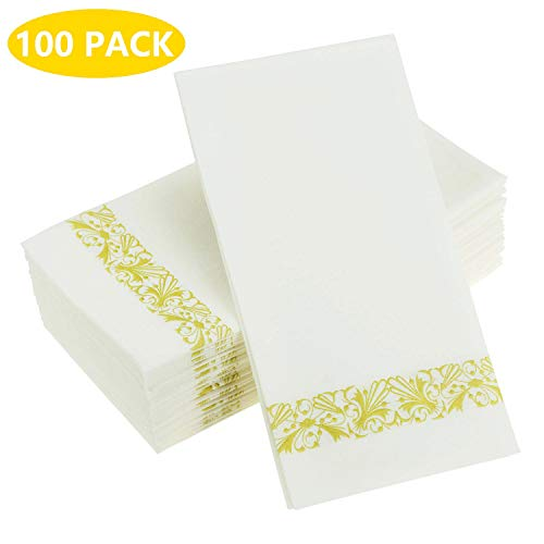 Back 12' Towel Bars - Urvoix Cloth-Like Paper Napkins - Disposable, Elegant, Heavy Duty Soft, Absorbent & Durable | Perfect for Party, Backyard BBQs, Dinners or Events | Gold Floral Trim (100-Pack)