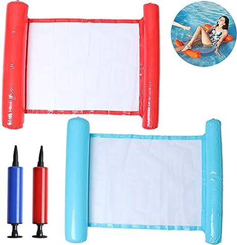WWmily Hamaca de agua 4 en 1, multiusos, hamaca inflable para piscina, diversión en el patio, silla de piscina, silla, hamaca para adultos (rojo + verde)