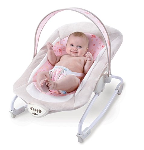 Babywippe rosa mit Vibration und verschiedenen Melodien zur Auswahl | Babyschaukel für Kinder bis 18 kg geignet