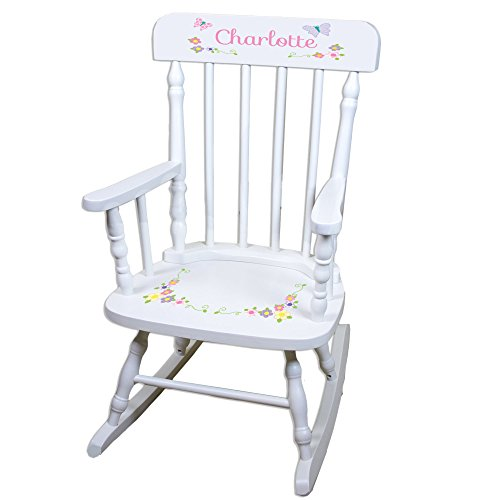(Personalized Pastel Butterfly Garland White Childrens Rocking Chair )