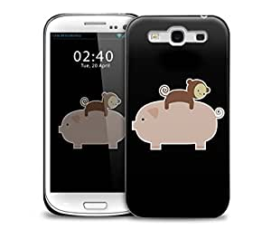 Baby Monkey Riding On A Pig Samsung Galaxy S3 GS3 protective phone case