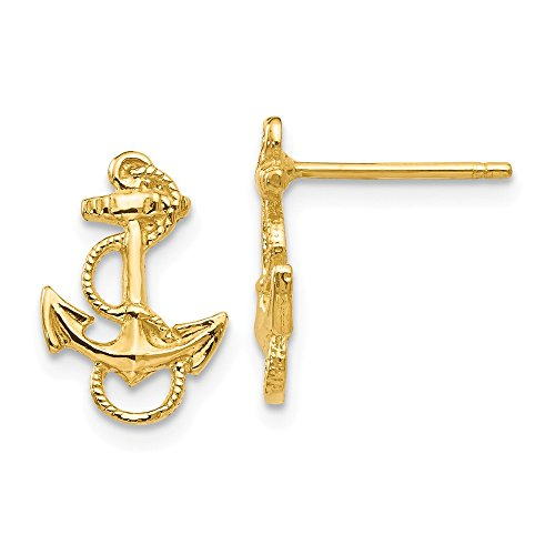- 14k Yellow Gold Nautical Anchor Ship Wheel Mariners Rope Trim Post Stud Earrings Fine Jewelry Gifts For Women For Her