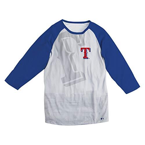(FOCO MLB Texas Rangers White Raglan Baseball TEE - Mens Large)