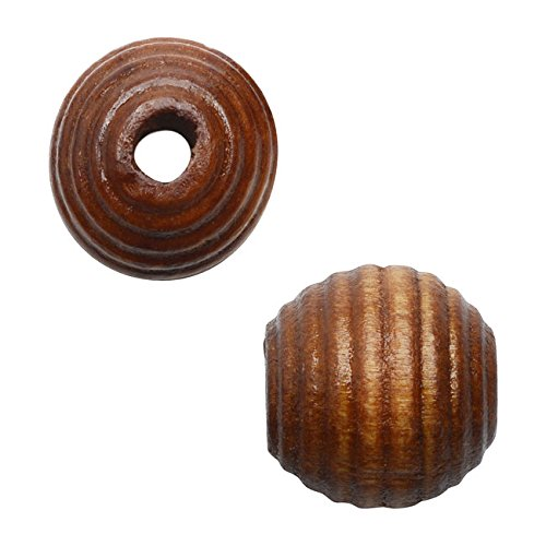 - Round Wood Beads, Ribbed Texture 13mm Diameter, 24 Pieces, Light Brown