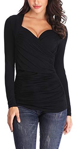 ANIENAYA Women's V Neck Crossover Pleated Wrap Long Sleeve Cute Summer Autumn Sexy Tops T Shirts Black M by ANIENAYA