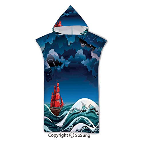 Sailboat Nautical Decor Kids Hooded Beach Bath Towel,Vintage Vessel Sailing in Stormy Weather at Dark Night Majestic Wave Print,7-15 Years Old Microfiber Bath Robe,Red Blue White,for Beach Pool Shower