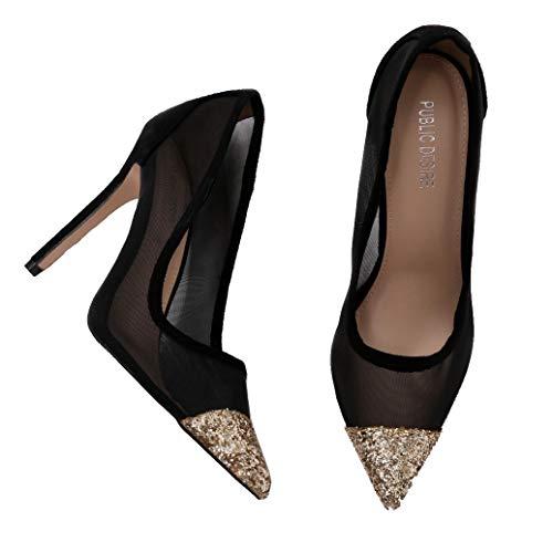 Public Desire Womens Chelsea Mesh Court Heels Stiletto Shoes Black and Gold US 8 (UK 6 / EU 39) from Public Desire