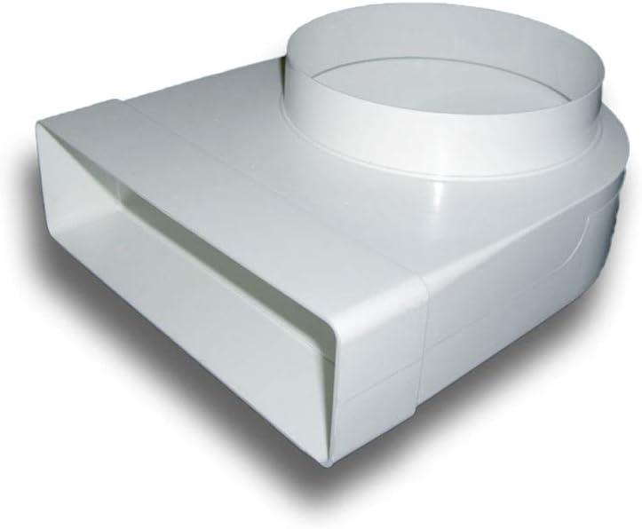 Umlenkst/ück Adapter 90/° PVC flach//eckig  rund System 125 auf /Ø 125