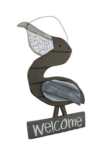 Zeckos Weathered Wooden Pelican Welcome - Weathered Sign Nautical Ocean