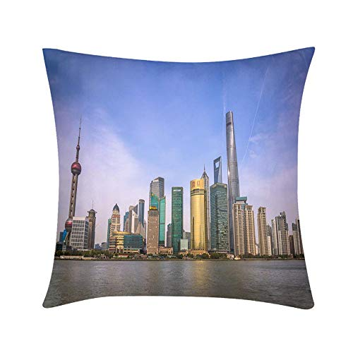 (Premium Hypoallergenic Stuffer Throw Pillow Pudong Financial District Skyline Shanghai China Design for Sofa Bedroom Office Car Decorate Pillow)