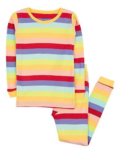 (Leveret Striped Kids & Toddler Girls Pajamas 2 Piece Pjs Set 100% Cotton (Size 10 Years,)