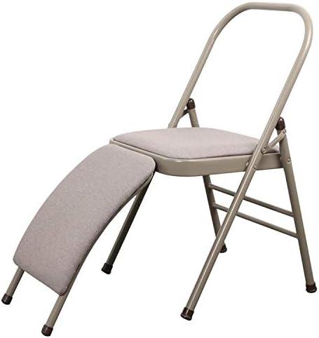 いす CZコーチ型多機能折りたたみヨガ補助椅子、ダブルビーム+腰椎サポート (色 : Grey)