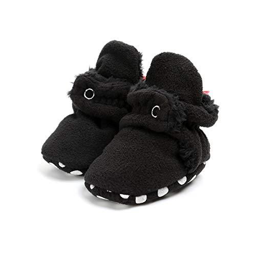 Sakuracan Baby Boys Girls Cozy Fleece Booties with Non Skid Bottom Infant Shoes Winter Socks (12cm(6-12 Months), B-Black)
