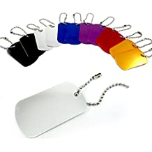 48 Military GI Dog Tags Anodized Aluminum Engravable Blanks Wholesale Chain New