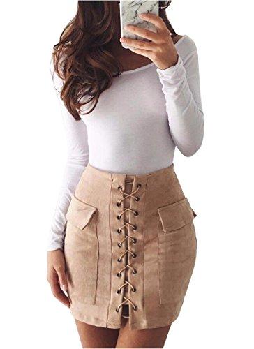 Minetom Femme Mode Rtro Bodycon Taille Haute Sude Lace-up Court Jupe Moulante Sexy Mini Crayon Skirt Avec 2 Poches Bandage Abricot