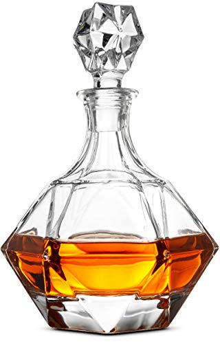 (FineDine European Style Glass Whiskey Decanter & Liquor Decanter with Glass Stopper, 30 Oz.- With Magnetic Gift Box - Aristocratic Exquisite Diamond Design - Glass Decanter for Alcohol Bourbon Scotch.)