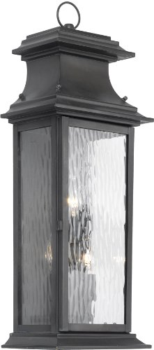 (Elk Lighting Provincial 3-Light Water Glass Outdoor Wall Lantern, Charcoal)