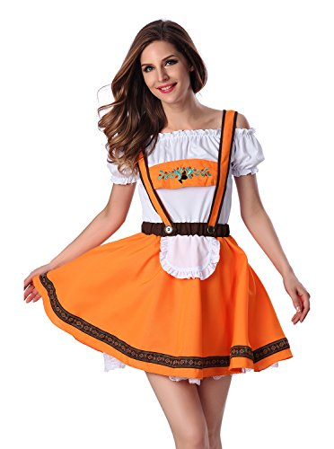 Beer Girl Halloween Costumes (Mumentfienlis Womens Beer Girl Bar Maid Costume Size L Yellow)