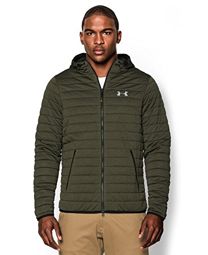 Quilted Hooded Zip Sweatshirt (Under Armour Men's UA Quilted Full-Zip Hoodie Greenhead/Artillery Green/Silver Medium)